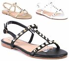 LADIES VINTAGE FLAT SANDALS STUDDED SUMMER PARTY GLADIATOR LOW HEEL BEACH SHOES