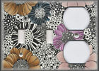 Metal Light Switch Plate Cover Vintage Boho Flowers Design Gypsy Flowers Decor