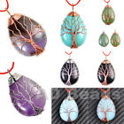 Silver & Rose Gold Plated Wire Wrap Tree of Life Natural Gemstone Reiki Pendant
