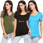 Women Short Sleeve Stretchy Top Solid Color Fashion T Shirt DZ88