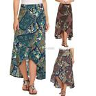 Women High Waist Split Front Ethnic Print Summer Beach Maxi Skirt DZ88