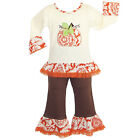 AnnLoren Girls Autumn Pumpkin Patch 2-Pc Outfit Clothing Set 6/9 mo-9/10
