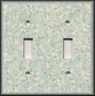 Metal Light Switch Plate Cover Ivory Flowers On Light Blue Grey Background