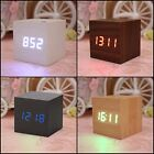 Wooden LED Alarm Clock With Thermometer Temp Date LED Display Calendars Electron