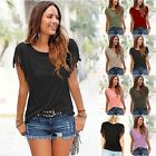 New Ladies Womens Blouse Summer Fringe Casual Loose Short Sleeve T Shirt Tee Top