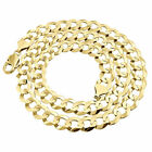 Real 10k Yellow Gold 11mm Chiseled Curb Cuban Link Style Chain Necklace 20-30""