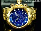 Invicta Men's 52mm Venom Swiss Chronograph Blue Dial Gold Tone Bracelet SS Watch