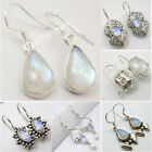 925 Solid Silver Natural RAINBOW MOONSTONE Earrings MANY STYLES, MANY GEMSTONES