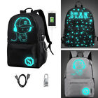 Luminous Noctilucent USB Charger Backpack Casual School Bag+ Anti-Theft Lock