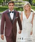 New Ike Behar Marbella Burgundy Wool Gosling Tuxedo Slim Fit FREE Vest & Bow Tux