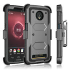 For Motorola Moto Z3 Play Armor Full Body Belt Clip Kickstand Holster Case Cover