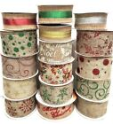 Wired Edge Hessian Christmas Ribbons Wide Ribbon Snowflakes - 1 or 3 metres
