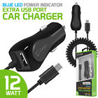 Cellet High Powered 12 Watt (2.4 Amp) Micro USB Car Charger with Extra USB Port