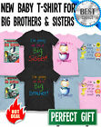 Boys Girls Organic Cotton New Baby Brother Or Sister T-shirts Kids Birthday Gift