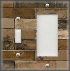 Metal Switch Plate Cover - Industrial Home Decor Rustic Decor Brown Brick Design