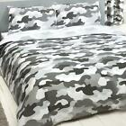 Grey Army Camouflage Bedroom - Duvet Cover Sets, Curtains, Sheets, Wallpaper