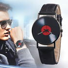 Men Women Retro Vinyl Record Dial Faux Leather Analog Quartz Wrist Watch Novelty
