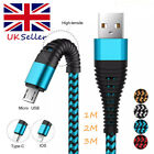 'Uk Usb Cable For Iphone 5 6 7 8 Plus X Xs Braided 2a Fast Type C Micro Charger