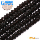 Natural Smoky Quartz Gemstone Faceted Rondelle Spacer Beads Free Shipping 15""