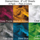 (4 Pack) 6 x 9 inch Stained Glass Sheet Pick TWO COLORS from 8 WATERGLASS Colors