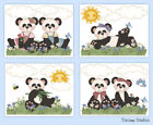 Внешний вид - Panda Teddy Bear Nursery Prints Baby Girl Woodland Animal Wall Art Kids Room
