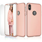 For iPhone Xs Max XR Xs X 360° Full Protective Hard Shell Case+Screen Protector