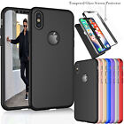 For iPhone Xs Max XR Xs X 360� Full Protective Hard Rubber Case+Screen Protector