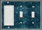 Metal Light Switch Cover - Sparkle Blue Design Image Home Decor Switch Plates