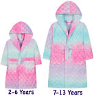 Girls Ombre Dressing Gown New Hooded Fleece Rainbow Bath Robe Ages 2 - 13 Years