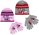 Girls Minnie Mouse Hat And Gloves Set Kids Disney Winter Sets Ages 3 - 12 Years