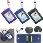 Leather Work Business Office ID Card Credit Card Badge Holder +Lanyard +5 Slots