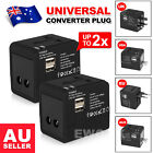 2PCS Universal Travel Adapter Dual 2 USB Plug Charger AC Power UK US EU AU