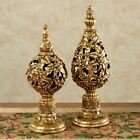 Gold Glitter Holly Finial Ornaments Tabletop Set 2 Holiday Decor Christmas Gift