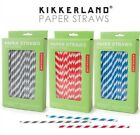 Kikkerland Biodegradable Blue Red Or Gray Stripe Paper Straws Bar Party ( 144 )