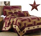 Burgundy Homestead Patchwork Country Primitive Farmhouse Quilt Set +BARN STAR image