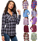 Women's Plaid Flannel Checkered Long Sleeve Button Down Shirts NEW