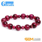 6mm&10mm Pink Tiger's Eye Gemstone Beaded Elastic Bracelet Jewelry for Women