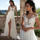 White/Ivory Lace Wedding Dress Beach Gown A-line Ball Gown Wedding Gown