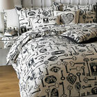 Graphic Vintage Lock & Keys 50/50 Quality Duvet Cover Piped Linen Bedding...