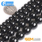 "Natural Gemstone Round Black Tourmaline Beads For Jewelry Making 15"" Large Hole"