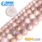 "Natural Gemstone Sunstone Smooth Round Beads For Jewelry Making 15"" 1.5-2mm Hole"