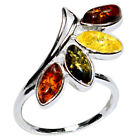 3.4g Authentic Baltic Amber 925 Sterling Silver Ring Jewelry N-A7229