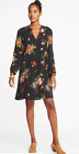 OLD Navy BLACK Floral GEORGETTE Swing DRESS Long SLEEVED Lined M L XXL Tall NEW