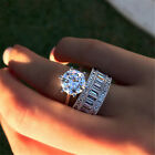 Luxury Solitaire White Sapphire Ring Set 925 Silver Engagement Wedding Jewelry