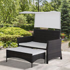 2 Piece Rattan Wicker Loveseat With Sunshade Canopy And Nesting Ottoman