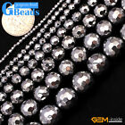 Silver Color Coated Reflections Hematite Faceted Round Beads for Jewelry Making