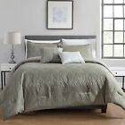 Desmond 5-Piece Soft Taupe/Teal Luxury Jacquard Comforter or Curtain Set image