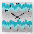 Modern Wall Art Clock Turquoise Teal Gray Grey Chevron Abstract Home Office