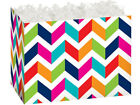 CHEVRON CHIC Design gift Basket Box With Crinkle Shred Choose Size & Shred Color