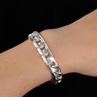 925 Noble Best Silver Plated Fashion Cute Nice Men Solid Chain Bracelet Jewelry